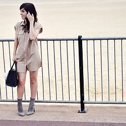 Elle Petite - Charlotte Crosby Shirt Dress, Truffle Grey Boots, Primark Black Handbag, Dash Bag Accessories - By The Seaside