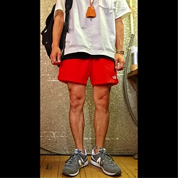 Keysyu Takagi - Globalwork Tops, Globalwork Inner, Thenorthface Bottom, New Balance Shoes, Globalwork Backpack - Outfit