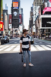 Kevin Elezaj - Birkenstock Sandals, Cheap Monday Jeans, Farah T Shirt, Brixton Hat - Big city life