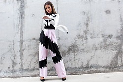 Jessi Malay - Charles Youssef Color Block Crepe Blouse, Charles Youssef Color Block Crepe Pants, Miu Black Suede Pumps - Charles Youssef