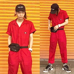 @KiD - Dickies Red Jumpsuit, (K)Ollaps New Wave, Rvca Waist Porch, Reebok Basquet, Funk Plus White Bracelet - Japanese Trash168