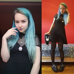 Nymphiah - Killstar Vampyre Night Creature Skater Dress In Black, Killstar Spooky Mini Me Clutch In Black, H&M Black And Silver Spidercob Tights, Demonia Batwing Creepers In Black, Thrifted Evil Cupcake Necklace, My Instagram @Nadizombiechu - With a little ghoul on the side