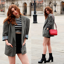 Martina L. - Vintage Jacket, Stradivarius Bag, Zara Booties - SHOULDER PADS