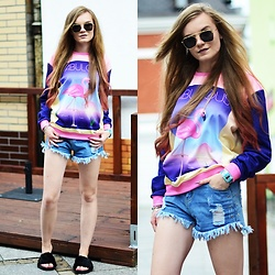 Karolina N. - Zaful Sunglasses, Rosegal Shorts, Renee Slipers, Zohra Jumper - Flamingos