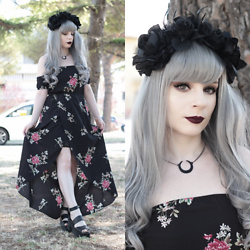 Federica D - Romwe Black Long Floral Dress - Nymph