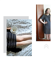 Jasmine - H&M Striped Dress - Morning Coffee