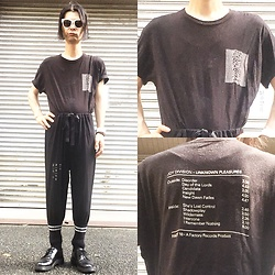 @KiD - Joy Division Unknown Pleasures, Monichrome Wide Pants, Dr. Martens 3holes Shoes, Funk Plus White Bracelet - Japanese Trash169