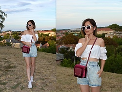 Marija M. - Rosegal Off Shoulder Crop Top, Terranova High Waist Shorts, Gamiss Cross Body Bag, Converse White Sneakers, Twinkledeals White Sunglasses - Changes