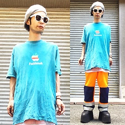 @KiD - Dub Factory Fuckintosh, Ca4la Summer Knit Beret, Vintage Fireman Electro Pants, Buffallo Platform, Funk Plus White Bracelet - Japanese Trash170