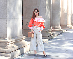 Mayo Wo - Sarah Lai Ruffle Blouse, Meli Melo Trunk Bag, Chanel Two Tone Shoe - Marmalade is the happiest color