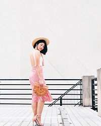 Cassey Cakes - H&M Hat, Miss Selfridge Nude Sandals, Zaful Skirt - Red Gingham