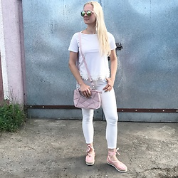 Natalia Piatczyc - Zaful Pink Suede Bag, Primark Pink Espadrilles, Sammydress White Pants, Primark Pink Sunglasses - White & Pink obsession