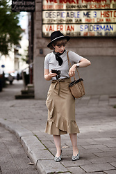 Esra E. - Topshop Ruffled Midi Camel Skirt, Zara Bag, Zara Stripes Pumps - Ruffle skirt