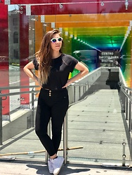 Karen Cardiel - Nike Air Force 1, Black Jeans, Forever 21 Black Crop Top, Circular Rainbow Sunglasses - ? Somewhere under the rainbow ?