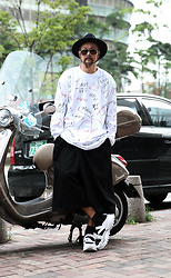 INWON LEE - Byther Doodle Print Loose Fit T Shirts, Byther Tr Diagonal Cropped Wide Pants - Modern Casual Outfit