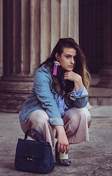 Jules - Zara Earrings, Mango Denim Jacket, Bershka Shirt, Zara Pleated Pants, Zara Bag, & Other Stories Socks, H&M Heels - Summer Socks