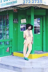 Roger De Monserrath - Vintage Yellow Suit, American Apparel Bobby Leather Lace Up Shoe - Colmado Papi