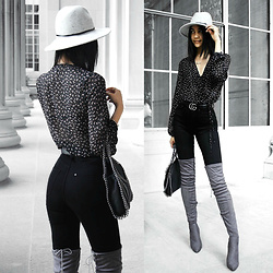 Florencia R - Forever 21 Fedora, Zara Floral Bodysuit, H&M Black Jeans, Boohoo Over The Knee Boots, Gucci Belt, Stella Mccartney Chain Bag - The Grey Boots