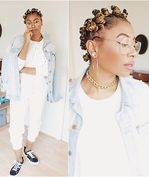 Lavinya Royes - Primark Clear Glasses, Primark Sweatshirt, Primark Jogging Bottoms, Vans Trainers, H&M Denim Jacket - B L A N C