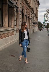 Emily S - Forever New Blue Denim Jeans, Lipstik Shoes Leopard Print Heels, Zara Leather Jacket - Leopard Pop