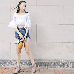 Joy Li - H&M Bell Sleeve Crop Top, Simon Miller Bucket Bag, Urban Outfitters Ankle Boots - Blue Calm