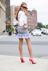Lauren Recchia - Just One Answer Blouse, Petersyn Smocked Skirt, Christian Louboutin Pumps - Margarita Mama