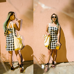 Jin Jung - Zaful Sunglasses, Zaful Plaid Dress, Korean Brand Converse Bag, Steve Madden Strappy Sandals - Plaid