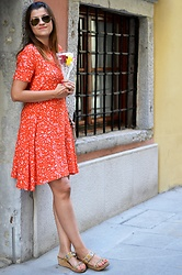 Ivana - Promod Orange Dress, Ray Ban Aviator Sunnies, Cinti Slippers With Beads And Crystals - Romantic Vibes