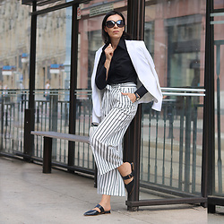 Minimalissmo .. - Roegal Striped Pants, Dorothy Perkins Jacket, Rosegal Sandals, Sammydress Watch - Timeless black and white