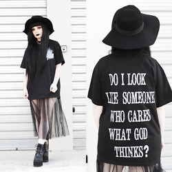 Federica D - Romwe Mesh Dress, Black Sanctuary Unholy Bible Tee - Don't care