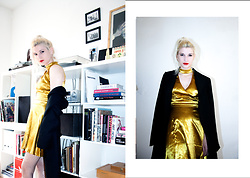 Edith Cook - Missguided Gold Choker Dress, Vintage Black Mens Coat - 007