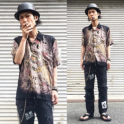 @KiD - Switch Yakuza Shirts, Newyork Hat Straw, Diy Crust Pants, Jojo Japanese Classic Beach Sandal, Funk Plus Studs Bracelet - Japanese Trash174