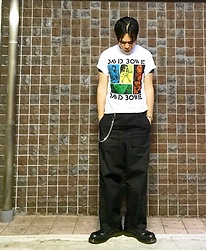 ★masaki★ - David Bowie Tee, Ch. Pants, Dr. Martens Shoes - Black and White