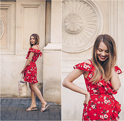 Julie P - Rosegal Wrap Dress, Gamiss Slippers - The red floral wrap dress