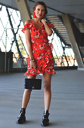 Isabella Pozzi - Gamiss Floral Wrap Dress, Chanel Flap Bag, Balenciaga Cut Out Boots - Gamiss Floral Wrap Dress