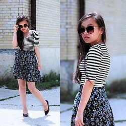 MC Y - H&M Striped Top, Lush Floral Wrap Skirt, Forever 21 Sunglasses - Stripes & Floral