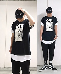 ★masaki★ - Kollaps Noise Music, Off! Tee, H&M Layer, Ch. Cutoff Pants, Vans Hi Top - Black and white