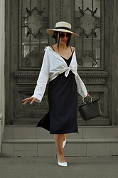 Ellone Andreea - H&M Straw Hat, Zara Kitten Heeled Sling Backs, Front Tied Shirt, Sunglasses, H&M Black Slip Dress - Late Summer Slip