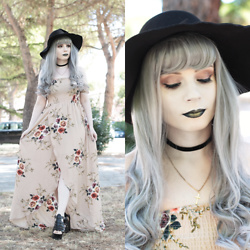 Federica D - Romwe Pink Floral Long Dress, Uniqso Grey Curly Wig, Romwe Black Hat - Delicate