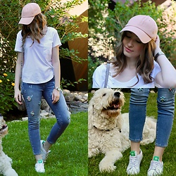 Taylor Doucette - Madewell White T Shirt, Anthropologie Bejeweled Jeans, Aritzia Baby Pink Baseball Cap, Adidas White Sneakers - The Future - San Holo & James Vincent McMorrow