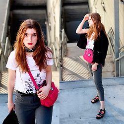 Martina L. - Mango Jacket, New Chic Pink Nylon Bag, Bershka White Tee, Sixty Seven Sandals, Bershka Grey Chinos - DRESSED BUT CASUAL LOOK