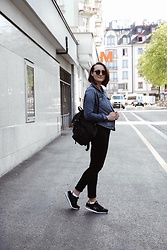 Nera K - C&A Jeans Jacket, Sketchers Sneakers, Zara Backpack - Denim ft. black