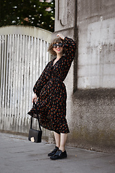 Esra E. - Zara Floral Midi Oversized Dress, Cos Black Cross Body Leather Bag, Zara Black Patent Leather Loafers - Floral dress