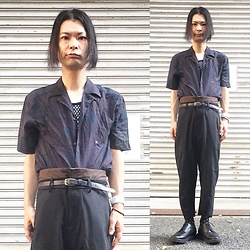 @KiD - Ch. Dark Aroha Shirts, Ch. High Waisted Pants, Number (N)Ine Meshed Tank, Funk Plus White Bracelet, George Cox Rubber Sole Shoes - Japanese Trash178