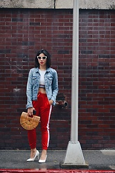 Cassey Cakes - Mango Denim Jacket, H&M Tracks Pants - Jog It!