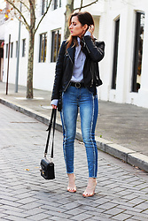 Emily S - Cotton On Frayed Detail Denim Jeans, Public Desire Clear Perspex Heels, Zara Black Leather Jacket - Denim and Leather