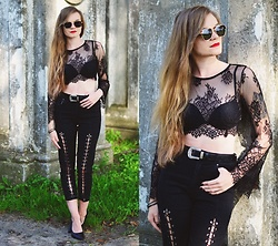 Karolina N. - Zaful Sunglasses, Zaful Top, Zaful Pants - Street Style: All black