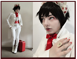 Lou Graves - Atelier Boz White Coat, 6%Dokidoki Red Corset Belt, Low Down And Dandy Red Bow Tie - Vampire Wedding