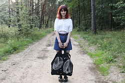 Karolina K - Ichi Blouse, Rosegal Belt, Zaful Denim Skirt, Czarny X Kombokolor Bag, 67 Shoes - Out of Time