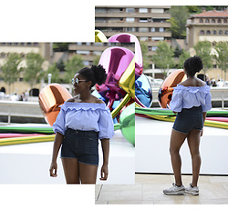 Kelly W - Primark Top Col Bardot, United Colors Of Benetton Short, Nike Air Max 90, Mango Sunglasses - OUTFIT À BILBAO #2 - MUSÉE GUGGENHEIM